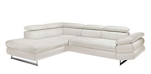 Mivano Ecksofa Solution / L-Form-Sofa in Kunstleder mit Ottomane rechts, Armteil und Kopfstützen verstellbar / 279 x 73 x 228 / Weiß