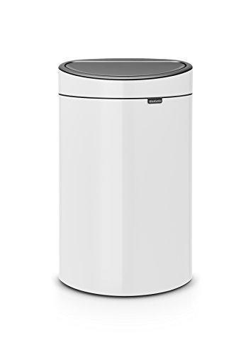 Brabantia Poubelle Touch Bin, 40 litres, Blanc, Capacité 40 Litres, 72,7 cm x 43,5 cm x 30,2 cm