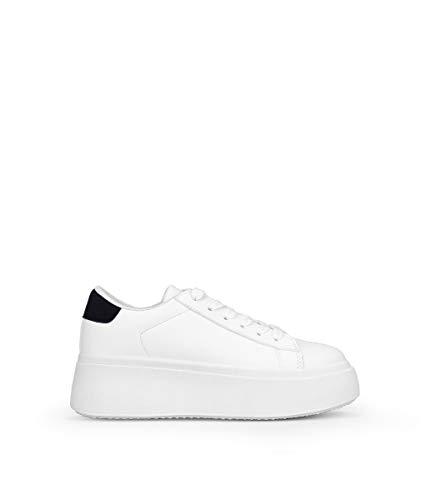 BOSANOVA Zapatillas Blancas con Detalle Pieza Trasera en Color Negro para Mujer | con Cordones. Blanco 41