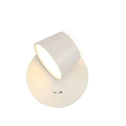 SOFIL Nowoczesna lampa ścienna LED, lampa do czytania, obracana o 90°, styl nordycki, do wnętrz, lampa ścienna LED, do sypialni, salonu, korytarza, schodów, biała 3000 K