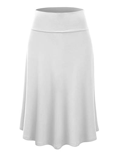 Lock and Love LL WB1105 Womens Lightweight Fold Over Flared Midi Skirt L White