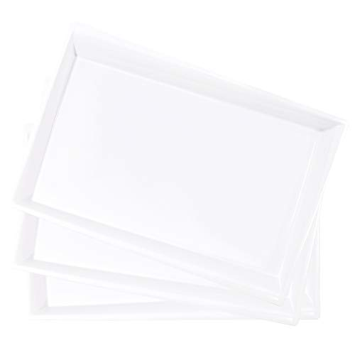 LLSF 12 Pack White Plastic Serving Trays 15 x 10 Rectangle Serving Platters Disposable Food Trays Perfect for Buffet Parties