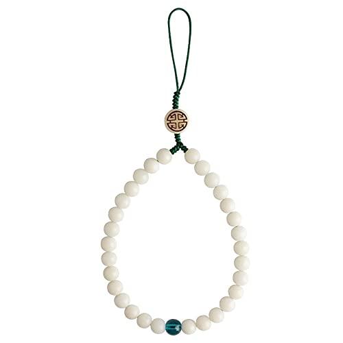JONJUMP Cadena tejida a mano de jade blanco Bodhi teléfono móvil cuerda anti-perdida solo anillo colgante hombres mujeres colgante corto muñeca cordón