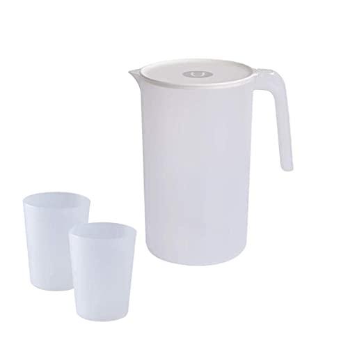 YWTT Jarra de Agua medidora con Tapa, Vaso de plástico para Botella de Jugo para Limonada casera/Bebida espumosa/té Helado/Leche/café/Servir Vino/Cerveza/Agua Caliente (Blanco, 2500
