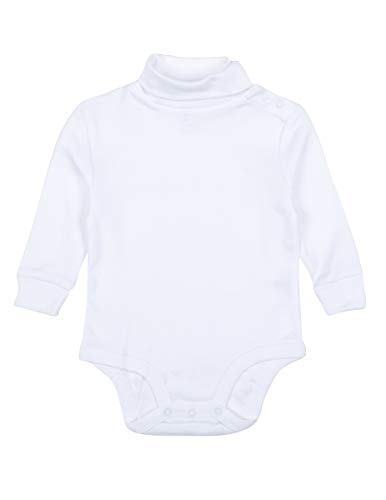 Leveret Solid Turtleneck Bodysuit 100% Cotton (2 Years, White)