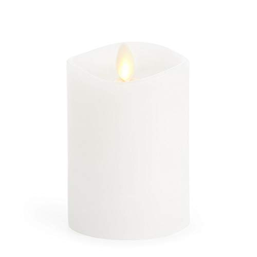 Luminara Flameless Pillar Candle, Small (4.5 inches, Unscented) Real-Flame Effect, Melted Edge, Real Wax, Smooth Finish, White, LED Battery-Powered Candle