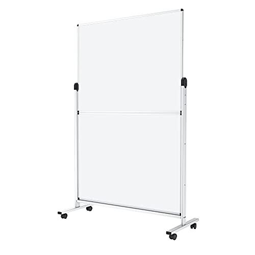 VIZ-PRO Mobiles Whiteboard/Doppelseitige Whiteboard/Raumteiler /Stellwand/ Trennwand/Bürotrennwand - mit Alurahmen, magnetisch (120x180 cm)