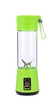 INTER FAST Mini exprimidor portátil para el hogar de seis hojas de exprimidor eléctrico multifunción de carga pequeña taza de jugo (color: verde, tamaño: 400 ml)