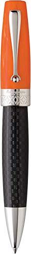 Montegrappa Miya Carbon Kugelschreiber, Schwarz/Orange, Versilberte Beschläge