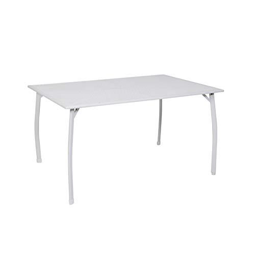 greemotion Gartentisch Toulouse - Esstisch Garten rechteckig - Tisch aus Metall, kunststoffummantelt - Balkontisch Weiß - Tisch für Terrasse, Balkon & Garten