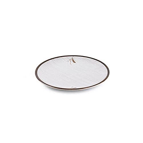 Caijiecaip Platos Llanos Placas de Cena de cerámica Sirviendo Platos para el Restaurante del hogar Conjunto de 2 Ronda Multicolor de Estilo contemporáneo (Blanco)