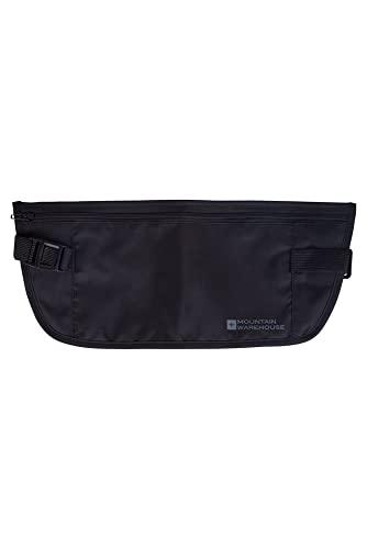 Mountain Warehouse Sac de Taille sécurisé - Sac Banane Ajustable, Design Fin, léger, Lavable - pour Garder Argent et Passeport Noir Taille Unique