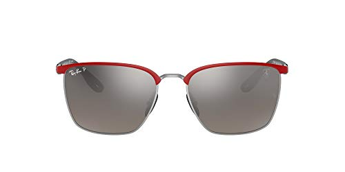 Ray-Ban 0RB3673M Gafas, RED FERRARI ON SILVER, 56 Unisex