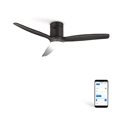 CREATE IKOHS WINDCALM DC STYLANCE - Ventilador de Techo Wifi, con Mando a Distancia, 3 Aspas, Potencia de 40W, Ultrasilencioso, 132 cm de Diametro, 6 Velocidades (con luz - negro)