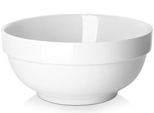 DOWAN Porcelain Serving Bowls, 2 Quarts for Soup, Salad and Pasta - White, Set of 2, 8 Inch