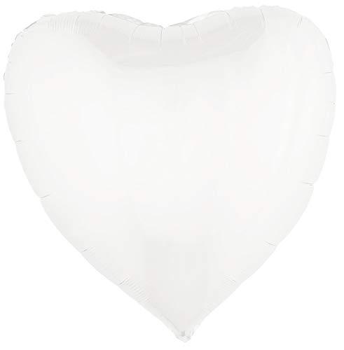 Das Kostümland 1 XL Folien Herz Luftballon Beschreibbar 80,5 x 75 cm - Weiß - zum selber beschriften - Dekoration Hochzeit Jahrestag Polterabend Junggesellinnenabschied Verlobungsfeier Valentinstag