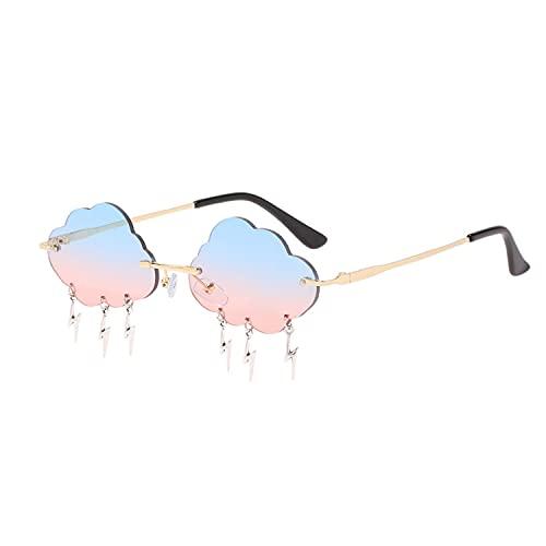 Damen Sonnenbrille, 1 Stück Metall Vintage Randlose Sonnenbrille, Unregelmäßige Brille, Party Brille, Wolke Sonnenbrille Randlose, Blitz Quaste für Frauen Getönte Brille, für Party Frauen Mädchen