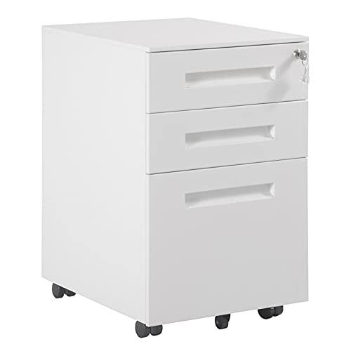 WOLTU Rollcontainer Metall, Mobiler Aktenschrank Büroschrank mit 3 Schubladen Bürocontainer, abschließbares und verstellbares Hängeregister, vormontiert, Büro, Home Office Weiß SK023ws