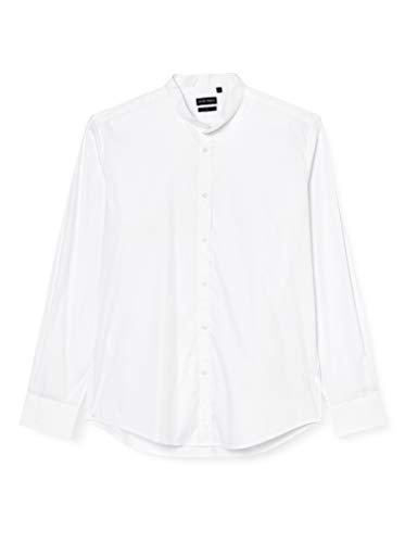 Antony Morato Camicia Manica Lunga Collo Coreano Camisa Casual, Blanco (Bianco 1000), XX-Large (Talla del...