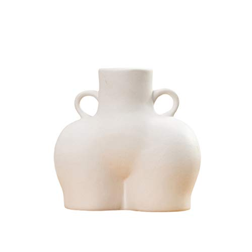Körper Blumenvase Körper Vase Kunst Keramik Minimalist Vase Dekorative Blumenvase Keramik Blumentopf Torso Statue Kleine Vase für Home Office (Beige)