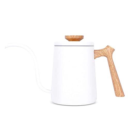 600Ml Czajnik do herbaty ze stali nierdzewnej Gooseneck Ekspres do kawy z długą wąską wylewką z drewnianą rączką, przelewowy dzbanek do kawy, płynna kontrola wody, biały