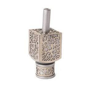 Yair Emanuel Decorative Dreidel on Base Silver Colored Anodized Aluminum with Metal Cutout Pomegranate Design Hanukkah Dreidel Spinning Top, Size Small