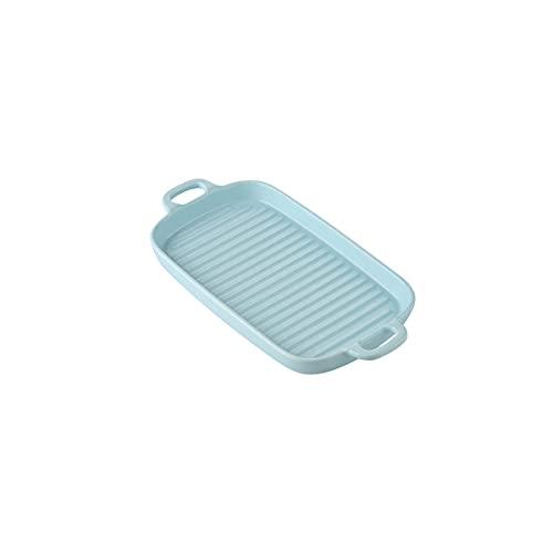 MHUI Platos pequeños de cerámica para Hornear con asa, Bandeja para lasaña para Asar, cazuela Rectangular pequeña para Hornear (6,1 Pulgadas),Azul