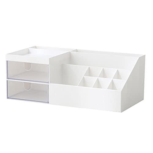 Joocyee - Caja de Almacenamiento de cosméticos para Escritorio, Soporte de exhibición de Rejilla múltiple, Organizador de Maquillaje, Cajas de Almacenamiento, cartón, Blanco
