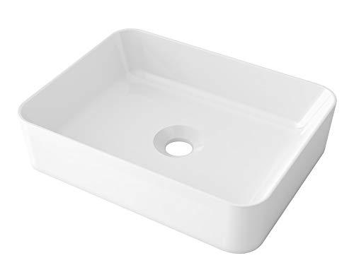 STARBATH PLUS Lavabo Ceramica Soprapiano Lavandino Da Appoggio Bianco Forma Rettangolo (49 x 38 x 14 cm)