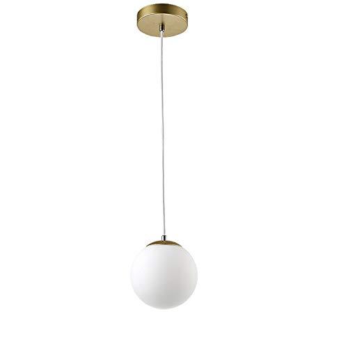 Lámpara colgante lámpara de bola blanca latón dorado cocina salón plafón luz 7.9'x7.9' 15cm