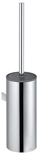 KEUCO Toilettenbürsten-Garnitur aus Metall chrom und Kunststoff weiß, Wandmontage, WC-Bürste mit Halterung und Deckel für Bad und Gäste-WC, Moll