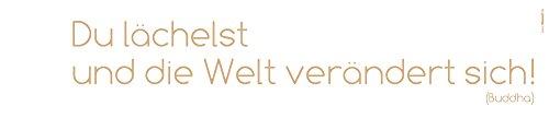 Komar Deco-Sticker | DU LÄCHELST | 14 x 70 cm | Wandtattoo, Aufkleber, Spruch, Wandbild, Wandsticker, Wandaufkleber, Walltattoo, Sprichwort, Lebensweisheit | 18001h