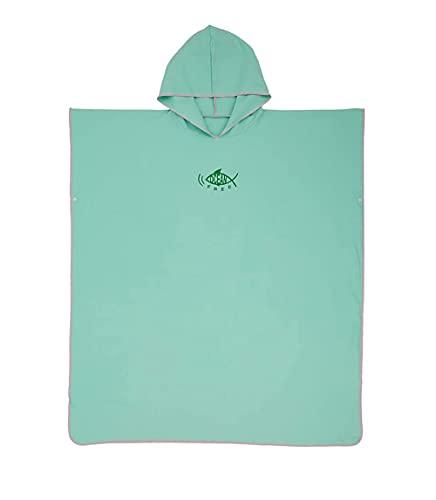 Poncho con cappuccio per fasciatoio, ad asciugatura rapida, leggero, extra lungo, in microfibra, taglia universale per uomini e donne, adulti, adatto per nuoto, surf e spiaggia (verde)
