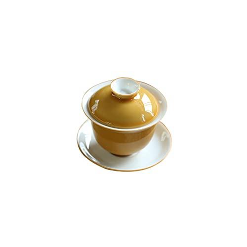 TOKUJN Copa de té de Porcelana China 7.6oz Gaiwan Flowerpot Tradicional Thread-Three Gaiwan Labios de Labios y platillo Juego de té Suelto Camelia Suelta, Porcelana Blanca China Gaiwán