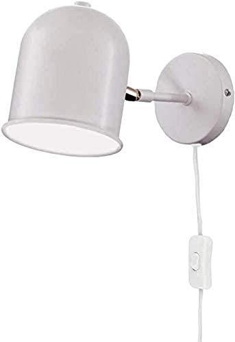 KANGSHENG Lámparas de Pared Blancas Modernas Accesorios de focos de Techo Ajustables Lámpara de Lectura de cabecera Accesorio de iluminación con práctico Enchufe, Cable e Interruptor
