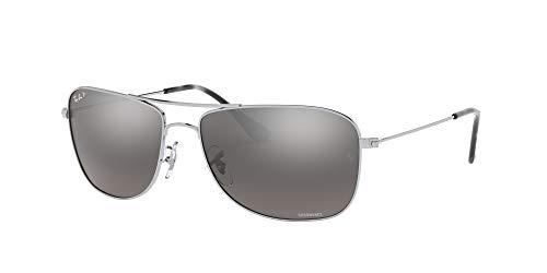 Ray-Ban RB3543 Chromance Mirrored Aviator Sunglasses, Shiny Silver/Polarized Silver Mirror, 59 mm