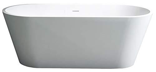 Bernstein Badshop Freistehende Badewanne aus Mineralguss ALMERIA STONE Ovale Standbadewanne weiß - 170 x 80 cm - Solid Stone
