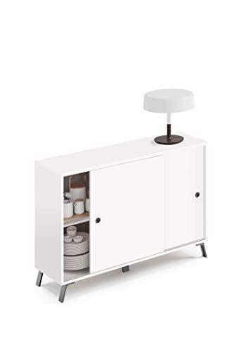 Muebles Pitarch Kamet Aparador, Aglomerado de partículas y melanina de Alta Densidad, Blanco, 87 x 120 x 40 cm