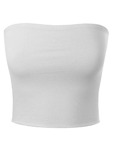 MixMatchy Women's Causal Strapless Double Layered Basic Sexy Tube Top White S