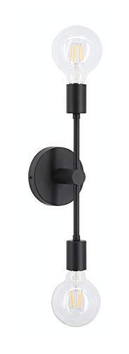 XiNBEi Aplique de pared doble negro, lámpara de tocador con 2 bombillas LED para baño, pasillo, dormitorio XB-W234-2-MB-LED