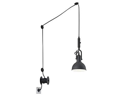 Lampada a sospensione a LED con paralume orientabile in metallo nero opaco – 6 metri di cavo con spina e interruttore a filo – versatile e flessibile illuminazione interna