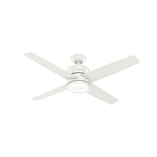 """HUNTER 59365 Advocate Indoor Wi-Fi Ceiling Fan with LED Light and Remote Control, 54"""", Fresh White"""