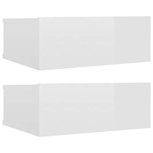 vidaXL 2X Mesita de Noche Flotantes Aglomerado Hogar Elegantes Clásicas Modernas Prácticas Duraderas Resistentes Funcionales Blanco Brillo 40x30x15cm
