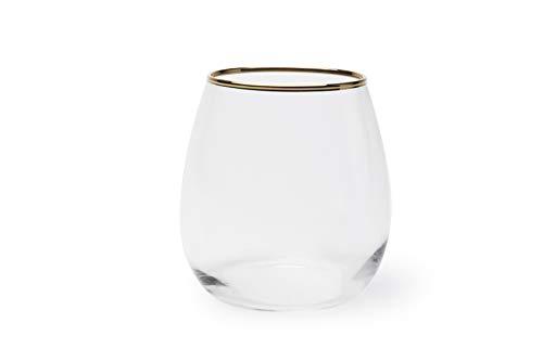 Excelsa Gold - Juego de 6 vasos de agua, cristal