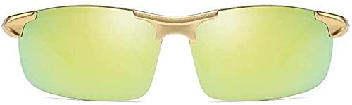 Gafas de sol deportivas de aluminio y magnesio, con marco medio, colorido, azul, dorado, plateado, polarizadas para conducción (color: azul)