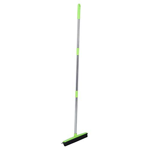Ichiias Borde de la escobilla de Goma Fácil de Limpiar Eliminación de Polvo Barredora de Piso, Escoba telescópica para Pisos, Azulejos Alfombras de Pelo para Mascotas(Green)