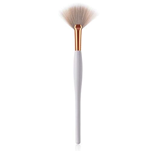 EDCV Foundation Poudre Blush Fard À Paupières Anti-cernes Correcteur Yeux Brosse Cosmétique Brosse Outils Blanc & Or en Bois Brosses De Maquillage Set Doux, 1- Brosse en Forme d'éventail