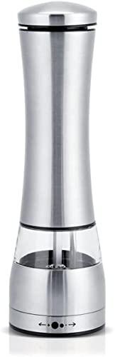 JeeKoudy Molinillo eléctrico de Sal y Pimienta, Acero Inoxidable, Grosor Ajustable, Funciona con Pilas