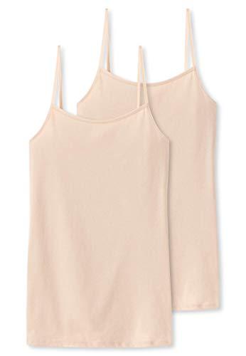 Schiesser Damen Unterhemd Spaghettitop, 2er Pack, Beige (Nude 410), 42