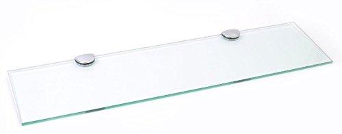 Estante largo de cristal con soportes cromados para baño, dormitorio, cocina, oficina (600 mm x 150 mm)